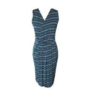 Leota Womens Faux Wrap Dress Blue Knee Length S